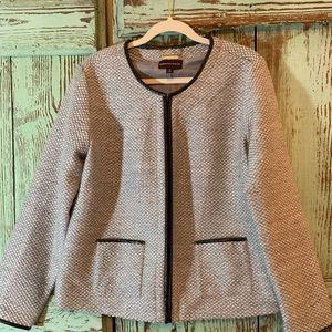 NWT Dana Buchman zip up gray wool Blazer size Xl.